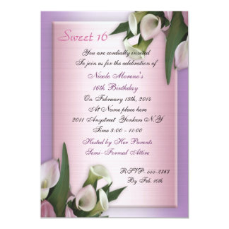 Sweet 16 calla lily birthday invitation elegant