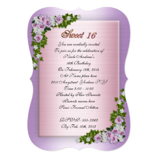 Sweet 16 Invitation Lavender roses and ivy
