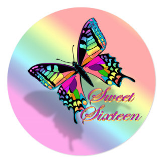 Sweet 16 invitation rainbow and butterfly