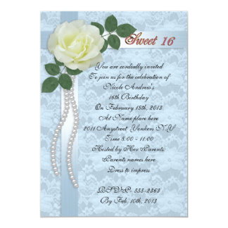 Sweet 16 Invitation satin lace and white rose