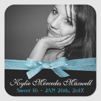 Sweet 16 Large Photo with Cute Blue Glitter Ribbon Square Sticker