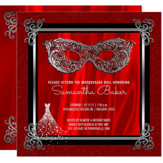 Sweet 16 Masquerade | Red Sweet Sixteen Birthday Card