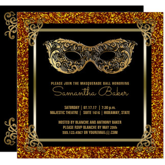 Sweet 16 Masquerade   Sweet Sixteen Gold Black Card