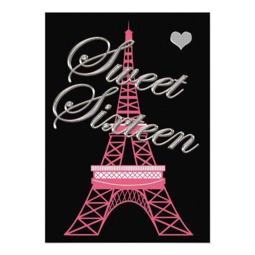 Sweet 16 Paris Eiffel Tower Birthday Invitation
