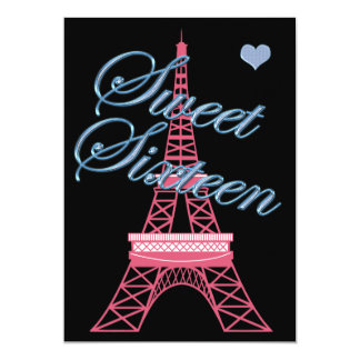 Sweet 16 Paris Eiffel Tower Birthday Invitation