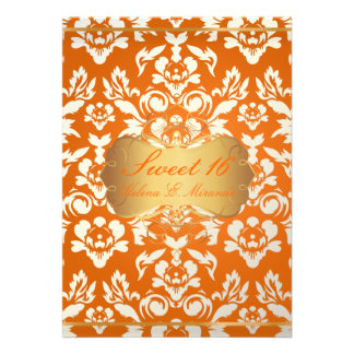 Sweet 16 princess pearl damask crushed orange custom invites