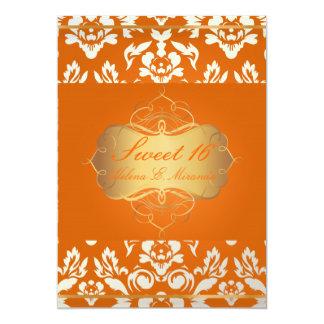 Sweet 16/ princess/pearl damask/crushed orange custom invitations