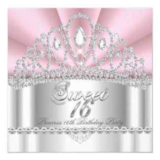Sweet 16 Princess Pink White Diamond Tiara 13 Cm X 13 Cm Square Invitation Card