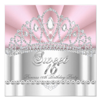 Sweet 16 Princess Pink White Diamond Tiara Card