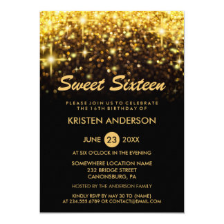 Sweet 16 Sixteen Birthday Gold Glitter Sparkles Card