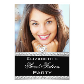 Sweet 16 Sweet Sixteen Silver Heart Photo 2 Personalized Announcements