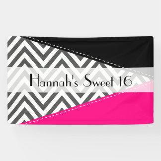 Sweet 16 - Zigzag Pattern, Chevron - Grey Pink Banner