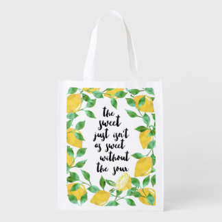 Sweet and Sour Lemon Quote Reusable Bag