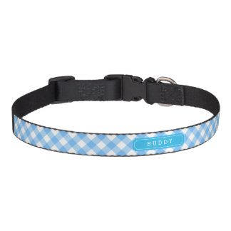 Sweet Baby Blue Gingham Custom Monogram Name Dog Collar