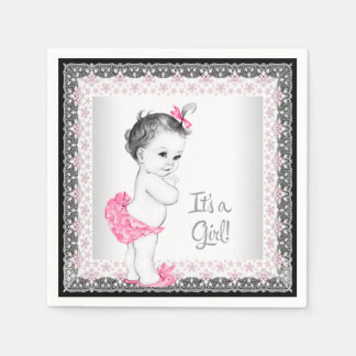 Sweet Baby Pink and Gray Baby Girl Shower Disposable Napkin