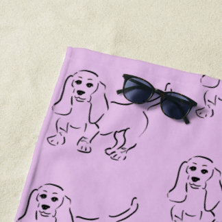 Sweet Basset - Dog Drawing with Your Name Beach Towel