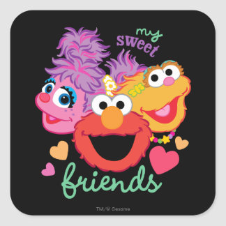 Sweet Best Friends Characters Square Sticker