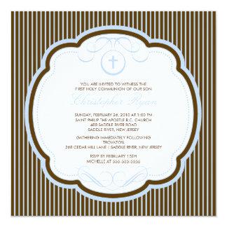 Sweet Blue Brown Cross Boy Communion Invitation