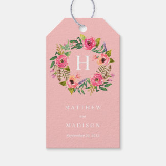 Sweet Bohemian Wreath in Pink | Wedding Gift Tags