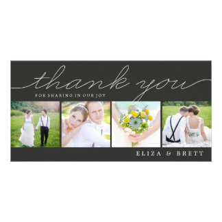 Sweet Collage Wedding Thank You Cards - Charcoal Photo Card Template