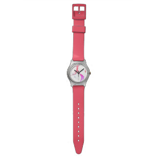 sweet coral&silver watch