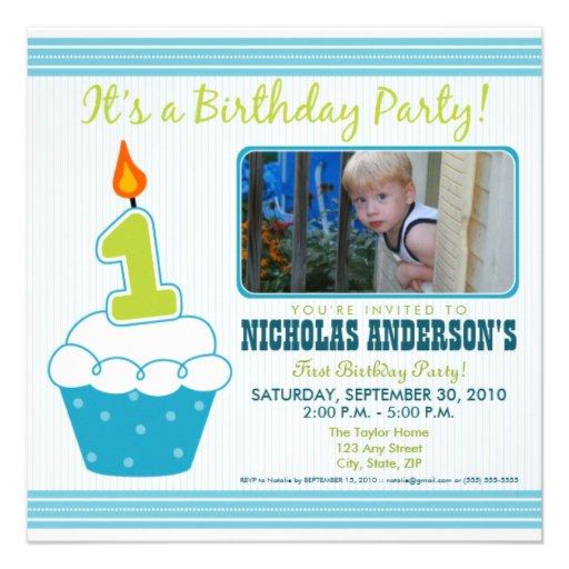 Sweet Cupcake 1st Birthday Party Invitation Aqua