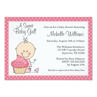 Sweet Cupcake Pink Polka Dot Girl Baby Shower Card
