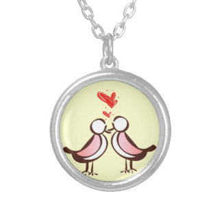 sweet cute lovebirds silver plated necklace