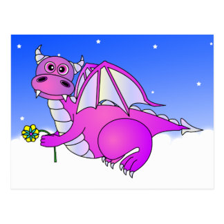Sweet Dreams - Cute Purple Dragon with Flower Postcard