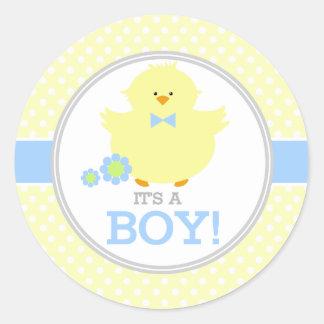 Sweet Ducky Its a Boy Classic Round Sticker