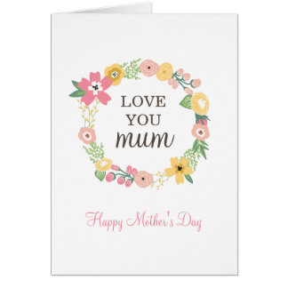 Sweet Floral Wreath Mother's Day Card