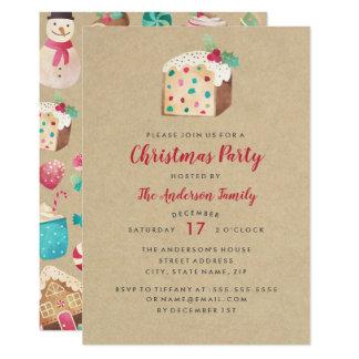 Sweet Fruitcake Christmas Party Invitation