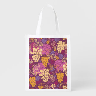 Sweet grape vines pattern background reusable grocery bag