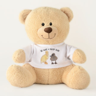 Sweet Gray and Yellow Duckling Pair Teddy Bear