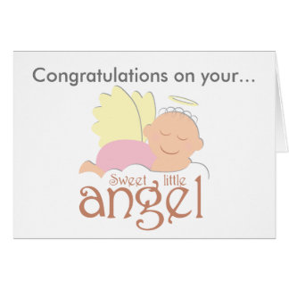 Sweet little angel baby birth greeting card