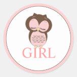 Sweet Little Girl Owl Gender Reveal Team GIRL Classic Round Sticker