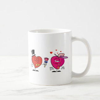 Sweet Male Heart Giving Flowers To A  Lady Heart Basic White Mug