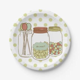 sweet mason jar and candy paper plates