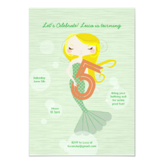 Sweet Mermaid Birthday Invitation - 5 Year Old