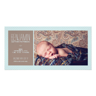 Sweet Moment Photo Baby Boy Birth Announcement Card