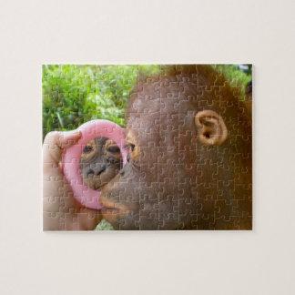 Sweet Orangutan Looking in Mirror Jigsaw Puzzle