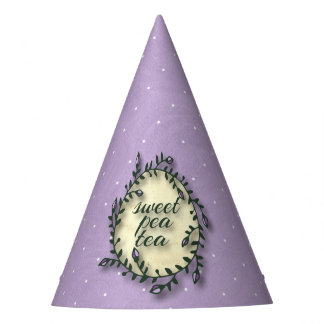 Sweet Pea Tea Birthday –Purple Polka-Dot Party Hat