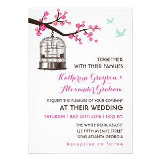 Sweet Pink Bird Cage Flower Wedding Invitation