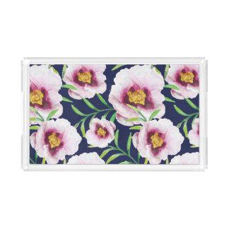 Sweet pink blue poppy vintage floral pattern