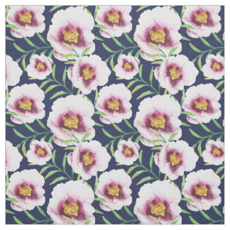 Sweet pink blue poppy vintage floral pattern fabric