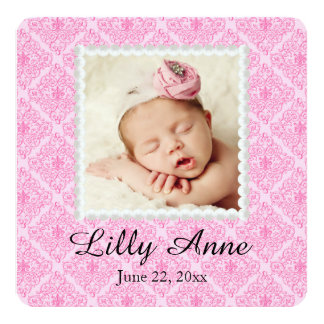 Sweet Pink Damask Baby Girl Birth Announcement