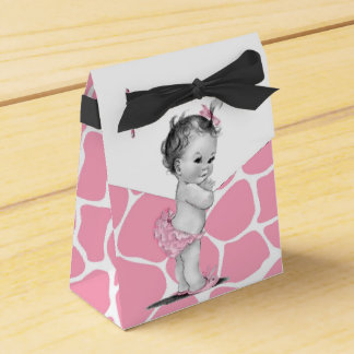 Sweet Pink Giraffe Baby Shower Favor Boxes