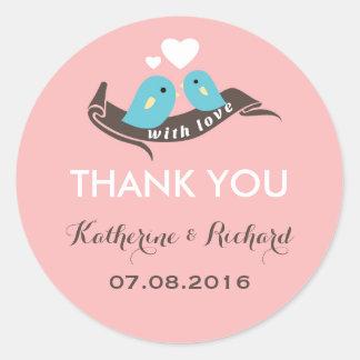 Sweet Pink Love Birds Wedding Favor Sticker