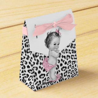Sweet Pink Snow Leopard Baby Shower Favor Boxes