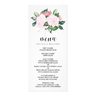 Sweet Pink Watercolor Roses Wedding Menu Rack Card